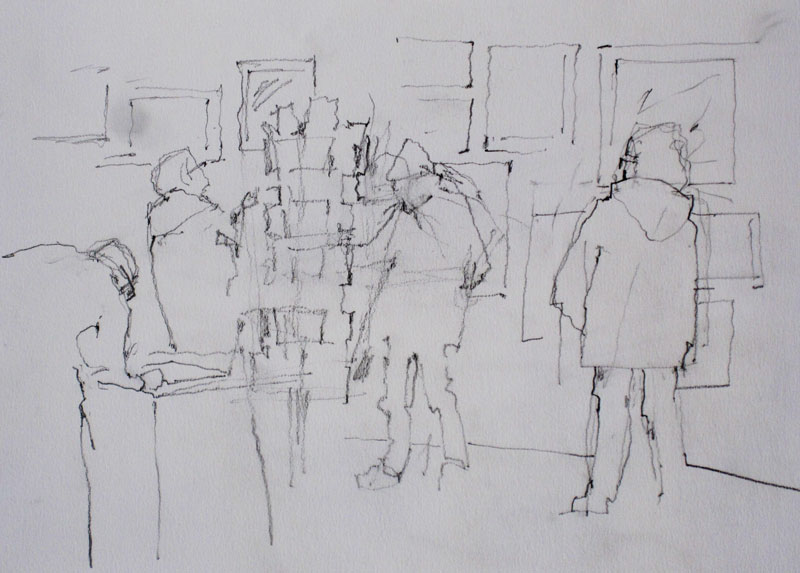 Drawing of people buying cards